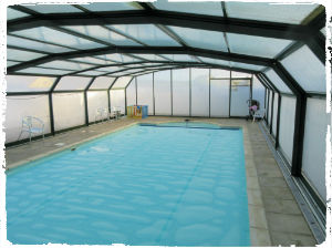 The fantastic indoor swimming pool (with retractable roof!) at Court Farm