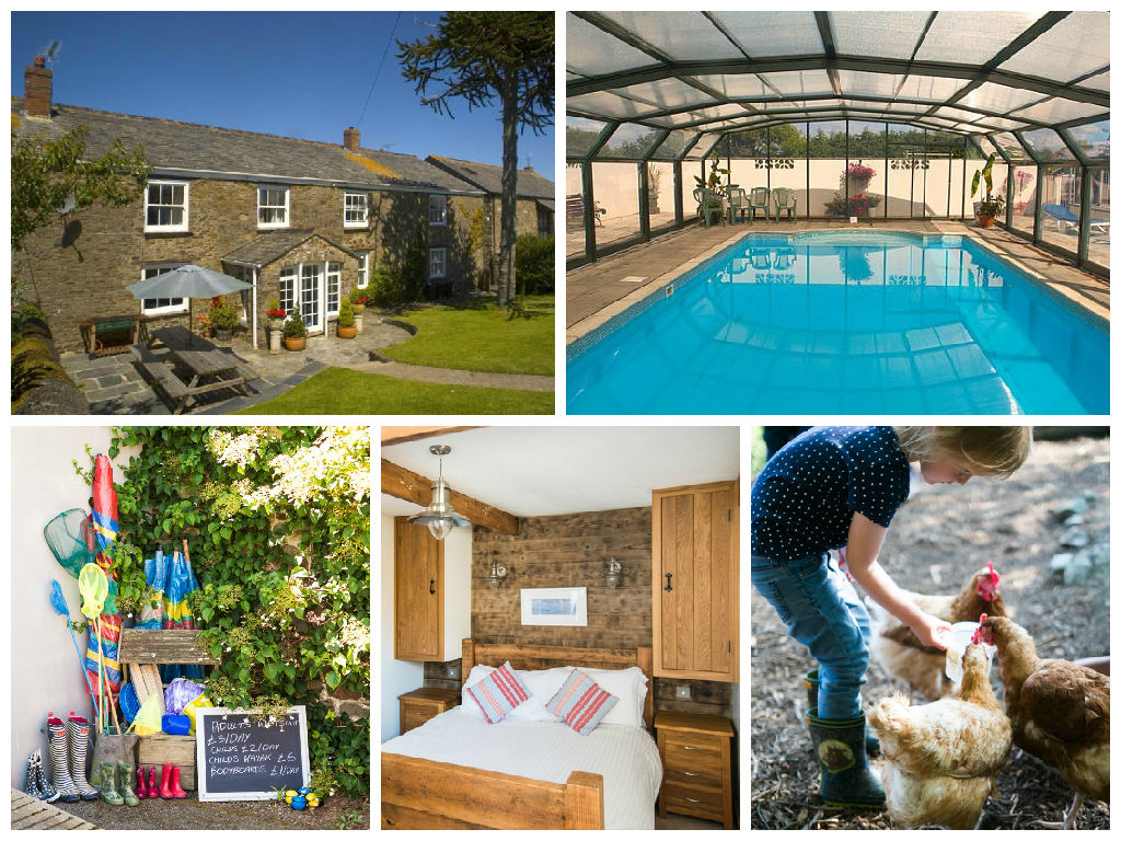 collage of images showing family friendly holidays at court farm
