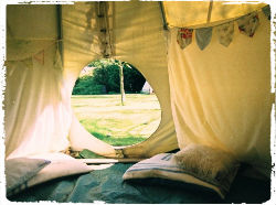 view from inside the children's play teepee at Mazzard Farm