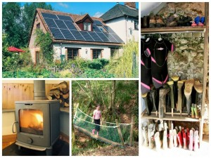 a collage of photos showing family friendly holidays at Mazzard Farm, Devon