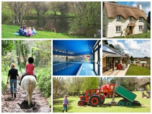 collage of photos showing bosinver farm cottages cornwall
