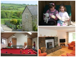 collage of images showing family friendly holidays at trecan farm cottages