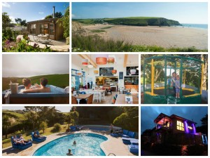 collage of images showing the park at mawgan porth