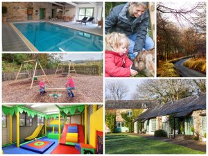 collage of images showing child and family friendly holidays at glynn barton