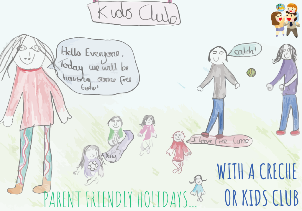 child and family friendly holidays with a kids club or creche