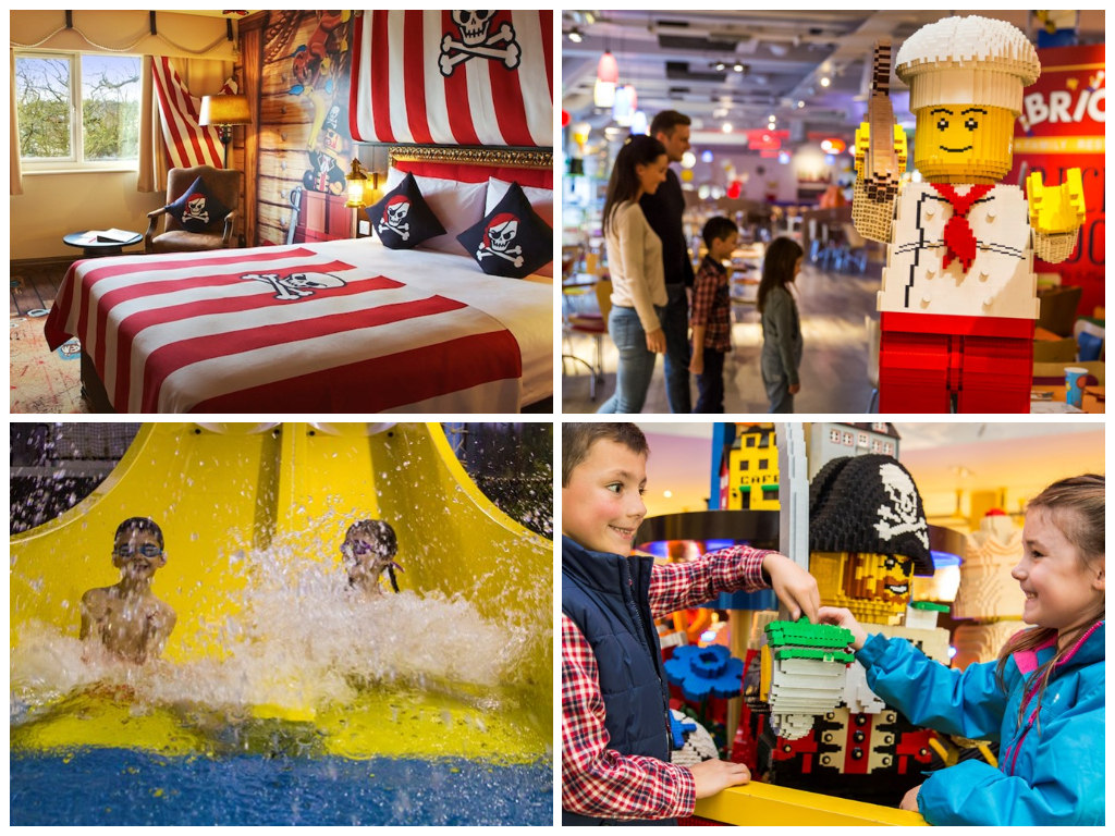 collage of images showing legoland windsor resort hotels