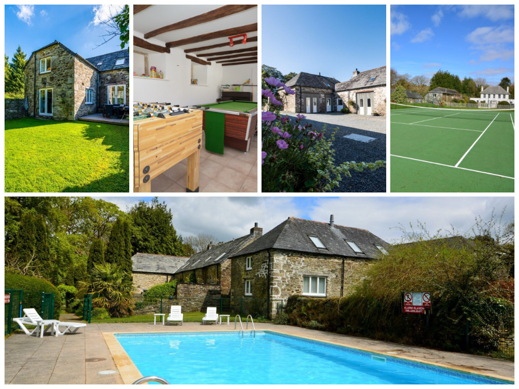 collage of images showing family friendly holidays at treworgey manor