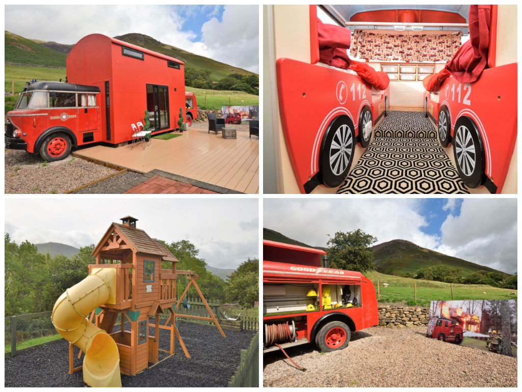 child friendly fire truck accommodation lake district