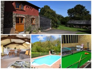 collage of images showing family friendly devon cottage