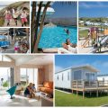 collage of images showing family friendly holiday park holidays at Perran Sands, Cornwall