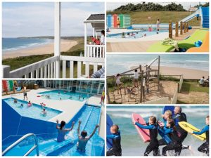 collage of images showing child and family friendly holidays at riviere sands holiday park cornwall