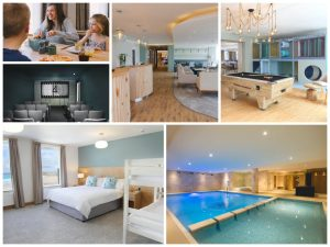 collage of images showing child and family friendly Cornwall holidays at the Esplanade Hotel