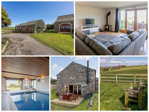 collage of images showing child and family friendly peak district cottage with pool